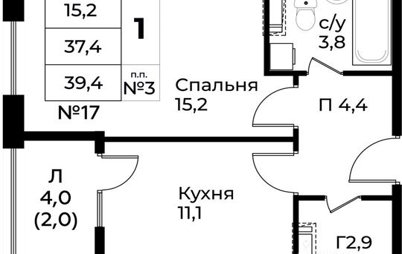 1-комнатная квартира, 39.4 м<sup>2</sup>, 12 этаж_1