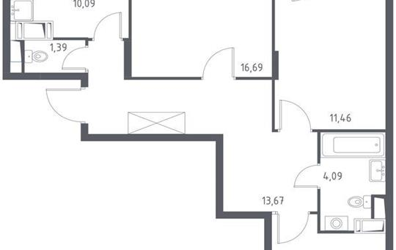 3-комнатная квартира, 74.59 м<sup>2</sup>, 12 этаж