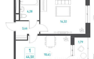 1-комнатная квартира, 44.5 м<sup>2</sup>, 5 этаж_1