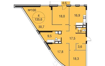 4-комнатная квартира, 135.6 м<sup>2</sup>, 6 этаж
