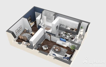 2-комнатная квартира, 47 м<sup>2</sup>, 9 этаж_1