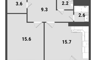 1-комнатная квартира, 50.6 м<sup>2</sup>, 22 этаж