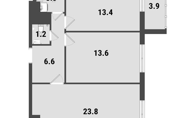 2-комнатная квартира, 63.1 м<sup>2</sup>, 19 этаж