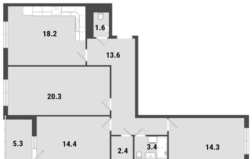 3-комнатная квартира, 90.9 м<sup>2</sup>, 13 этаж