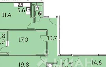 3-комнатная квартира, 91.2 м<sup>2</sup>, 19 этаж