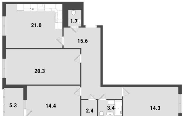 3-комнатная квартира, 95.8 м<sup>2</sup>, 22 этаж