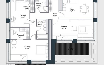 3-комнатная квартира, 113 м<sup>2</sup>, 13 этаж