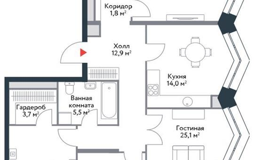 4-комнатная квартира, 115 м<sup>2</sup>, 14 этаж