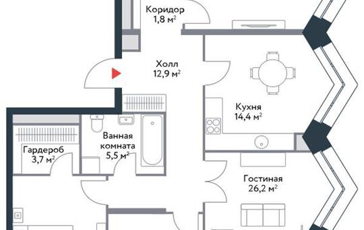 4-комнатная квартира, 117 м<sup>2</sup>, 16 этаж