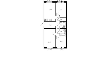 3-комнатная квартира, 92.7 м<sup>2</sup>, 13 этаж