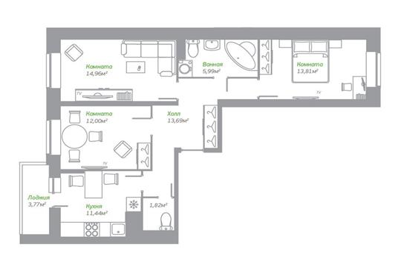 3-комнатная квартира, 75.6 м<sup>2</sup>, 2 этаж