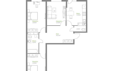 3-комнатная квартира, 78.22 м<sup>2</sup>, 16 этаж