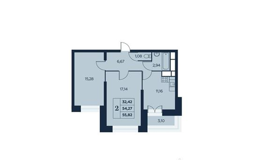 2-комн квартира, 55.82 м<sup>2</sup>, 9 этаж_1