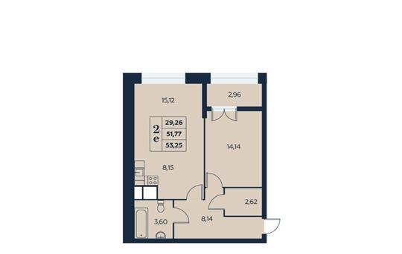 2-комнатная квартира, 53.25 м<sup>2</sup>, 9 этаж_1