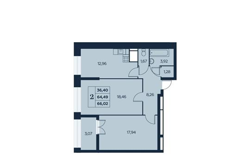 2-комн квартира, 66.53 м<sup>2</sup>, 10 этаж_1