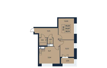 3-комнатная квартира, 66.14 м<sup>2</sup>, 14 этаж_1