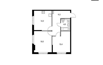 2-комнатная квартира, 57.8 м<sup>2</sup>, 12 этаж_1