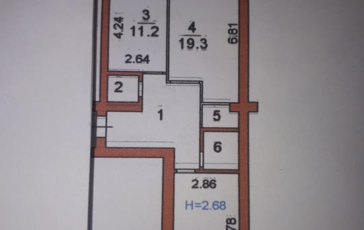 2-комнатная квартира, 65 м<sup>2</sup>, 1 этаж