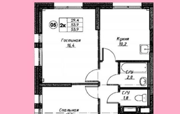 2-комнатная квартира, 53 м<sup>2</sup>, 18 этаж