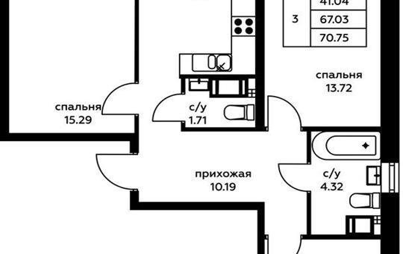 3-комн квартира, 70.75 м<sup>2</sup>, 9 этаж_1