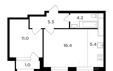 2-комнатная квартира, 43.09 м<sup>2</sup>, 18 этаж_1