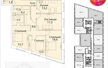 4-комнатная квартира, 116.4 м<sup>2</sup>, 17 этаж_1