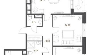 4-комнатная квартира, 103.73 м<sup>2</sup>, 6 этаж
