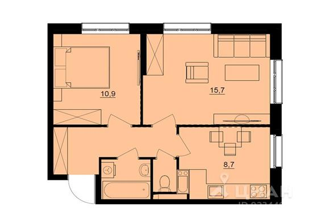 2-комнатная квартира, 45.9 м<sup>2</sup>, 14 этаж_1
