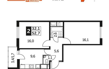 2-комн квартира, 52.7 м<sup>2</sup>, 9 этаж_1