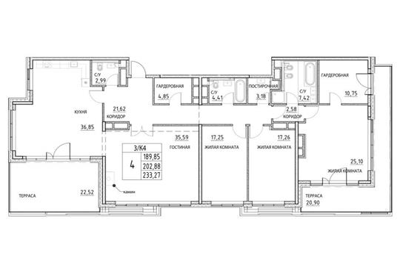 4-комнатная квартира, 202.88 м<sup>2</sup>, 23 этаж