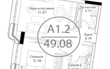 1-комн квартира, 49.1 м<sup>2</sup>, 12 этаж_1