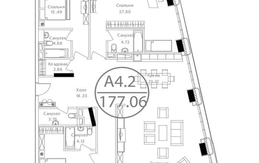 3-комнатная квартира, 177.06 м<sup>2</sup>, 22 этаж