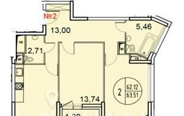 2-комн квартира, 63.51 м<sup>2</sup>, 7 этаж_1