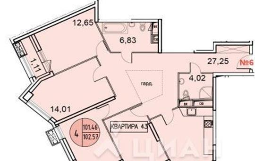4-комнатная квартира, 102.09 м<sup>2</sup>, 19 этаж