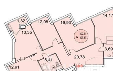 4-комнатная квартира, 102.96 м<sup>2</sup>, 17 этаж
