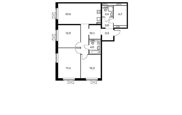 3-комнатная квартира, 94.7 м<sup>2</sup>, 12 этаж