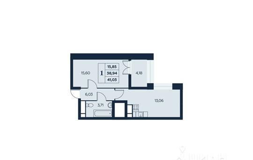 1-комн квартира, 41.03 м<sup>2</sup>, 28 этаж_1