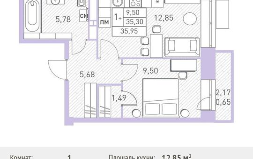 1-комн квартира, 35.95 м<sup>2</sup>, 9 этаж_1
