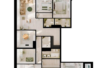 Многокомнатная квартира, 181.5 м<sup>2</sup>, 13 этаж