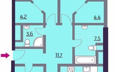3-комнатная квартира, 114.9 м<sup>2</sup>, 16 этаж