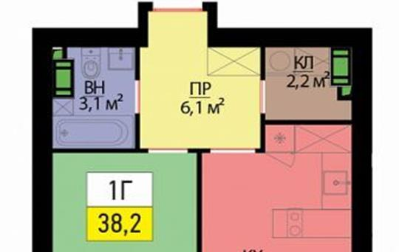 1-комнатная квартира, 38.2 м<sup>2</sup>, 3 этаж