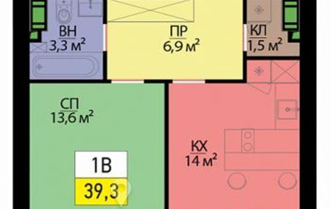 1-комнатная квартира, 39.3 м<sup>2</sup>, 8 этаж