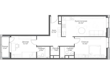 2-комнатная квартира, 75 м<sup>2</sup>, 4 этаж_1