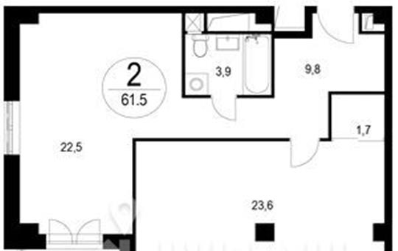 2-комнатная квартира, 61.5 м<sup>2</sup>, 16 этаж_1