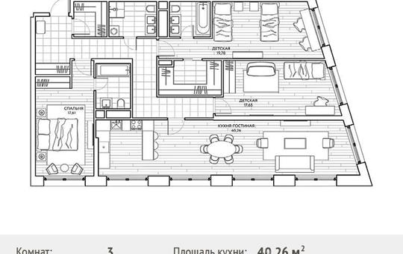 3-комнатная квартира, 136.04 м<sup>2</sup>, 6 этаж