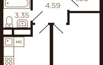 1-комнатная квартира, 41 м<sup>2</sup>, 8 этаж_1