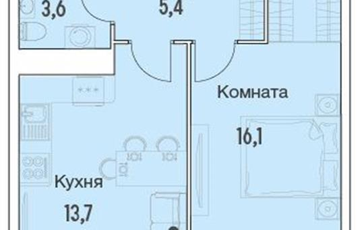 1-комнатная квартира, 40.4 м<sup>2</sup>, 7 этаж_1