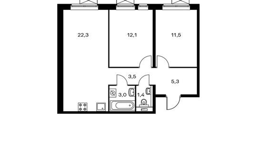 2-комнатная квартира, 59.1 м<sup>2</sup>, 12 этаж