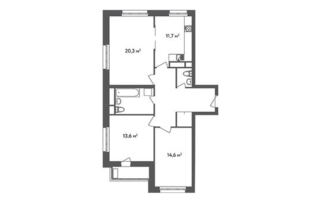 3-комнатная квартира, 86.7 м<sup>2</sup>, 2 этаж