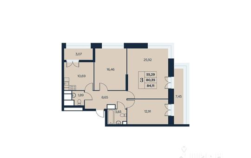 3-комн квартира, 84.11 м<sup>2</sup>, 22 этаж_1